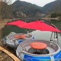 electric BBQ donut boat for entertainment on the lake, BBQ leisure boat leisure boat for BBQ