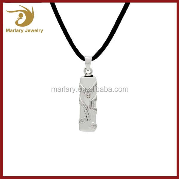 Pure Silver Jewelry For Ashes Cremation Cylinder Zircon Urn Pendant