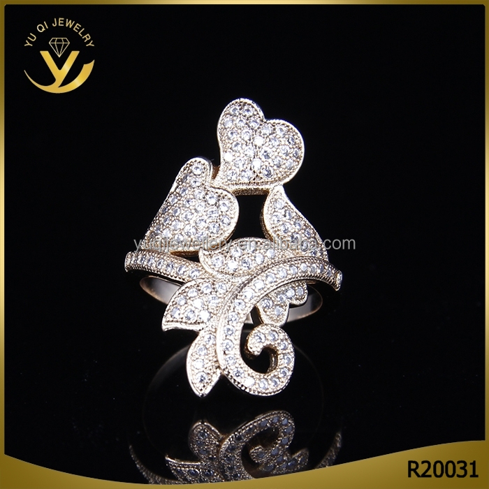 jewelry beautiful leaf charm zircon kundan Latest gold finger ring designs