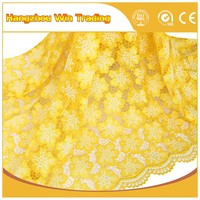korean glitter and lace fabric yellow african guipure cord lace with rhinestones