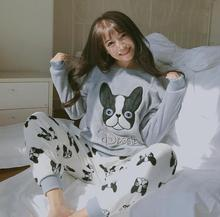 Autumn and winter long-sleeved pajamas lady flannel south Korean winter thermal home suit