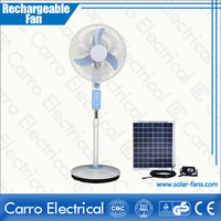 Foshan electronic 12V 16 inch rechargeable stand fan battery operate stand fan
