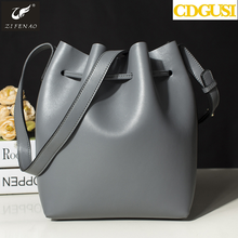 PU leather Candy Color Casual Shoulder Cross body bag Women messenger bag Chain Bucket Bag for Brand design Handbag