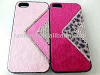 2014 new products on market plastic + leather diamond mobile phone case for iphone 5 case