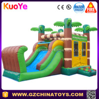 2016 factory price tropical cheap carnival kids super inflatable moonwalk bouncer jumping slide combo