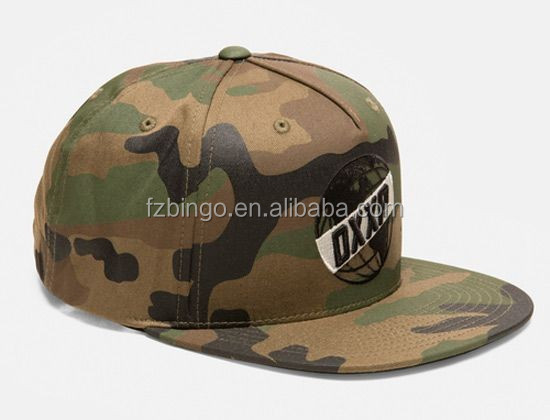 Custom Snapback Cap Embroidered Military Camo hats