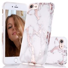 For iphone 7 8 Case Shiny Rose Gold White Marble Design Clear Bumper Matte Soft TPU Shockproof Silicone Cover For iphone X