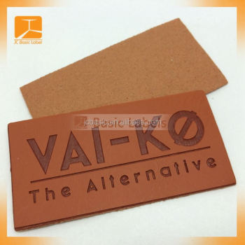 New soft custom leather labels for jeans, leather patch label for garments, leather label for handbags