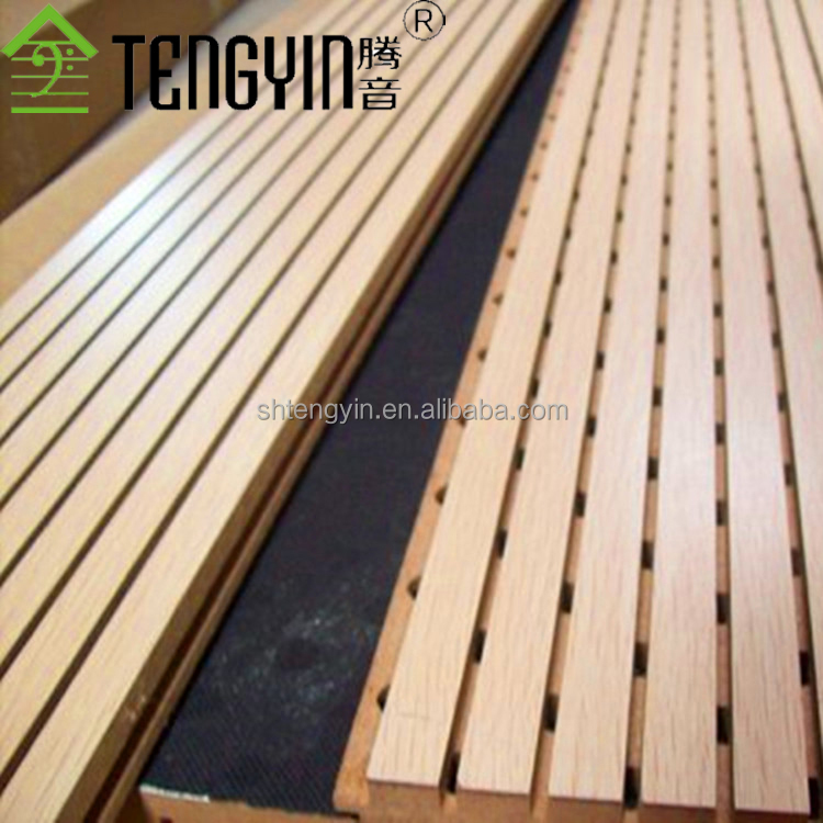 Hot sale factory production grooved wood timber soundproof panel for home theatre sound system