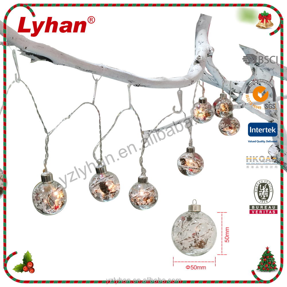 hot sale 10 pcs 5cm clear glass ball with LED light string light for indoor Christmas decoration