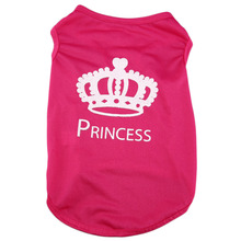 Cute Summer Small Dog Cat Pet Soft Vest Princess Crown Pattern Apparel Costumes T shirt Pet Dog Summer Breathable Clothes