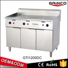 Auto temperature control Stainless steel gas griddle Restaurant Cooking Equipment with cabinet GTI1200DC