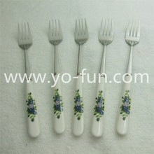 JET205 stainless steel ceramic long handle chocolate forks