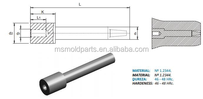 NOYO 1.2344 material CORE PIN skd61 precision mold pin with M8