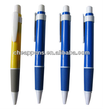 cheaper plastic grip pen with brand logo for promotional