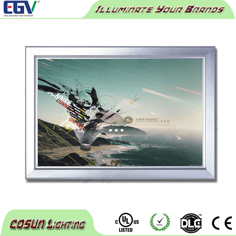 Hot sales led advertising menu hanging light box display clip open aluminum a3 snap poster frame