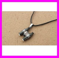 Fashion men leather 316l stainless steel telescope pendant necklace HD1283