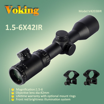 1.5x-6x 42 illumination reticle Locking turrets tactical 30mm riflescope