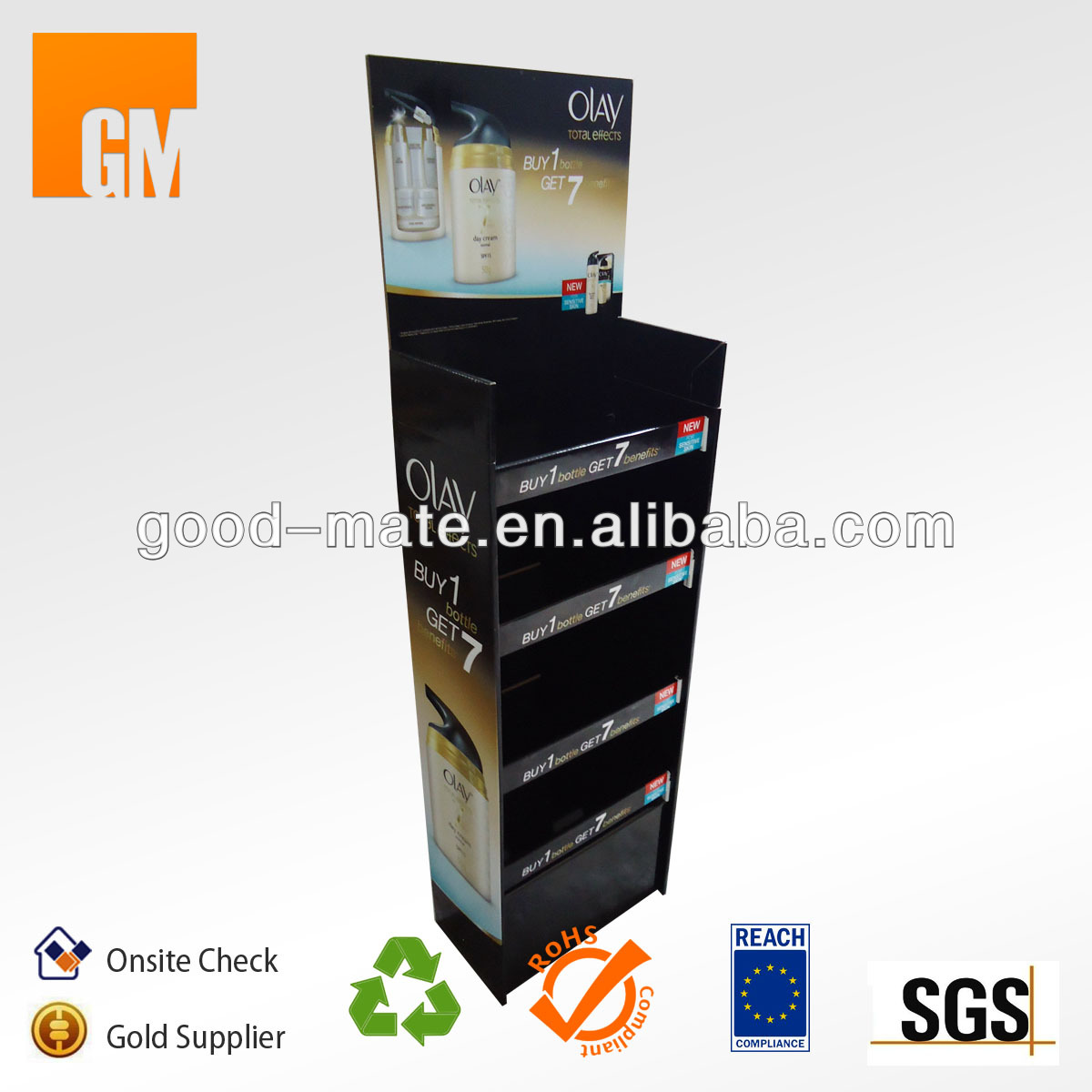 Corrugated Cardboard Floor Standing Display Units for Olay Cream
