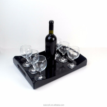 Modern Black Acrylic Serving Trays With Handles Cocktails Drink Food Party Bar