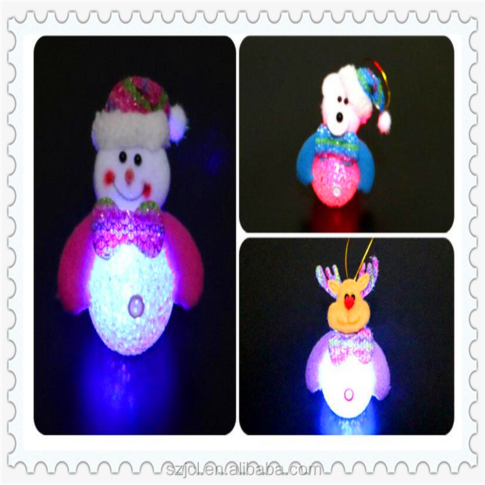 School Kids Favor Christmas Gifts LED Night Light Snowman Toys Clear Crystal Light Up Snowman Ornaments For Christmas