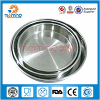 Good quality 3pcs stainless steel round pizza tray /deep cake plate