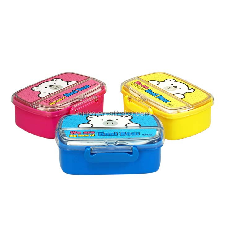 with tableware transparent plastic kids lunch box
