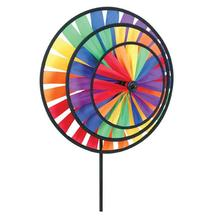 Ground Stake Included Colorful Triple Wind Spinner for your Yard and Garden