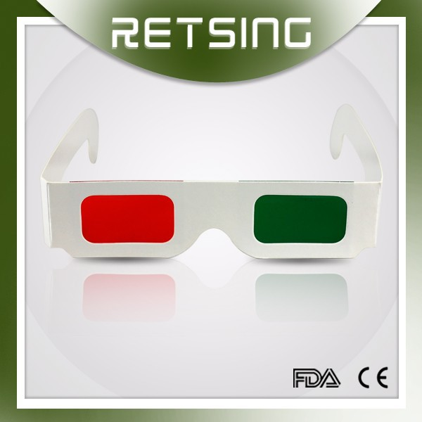 Paper red green 3d glasses for movies, wholesale paper green red 3d glasses