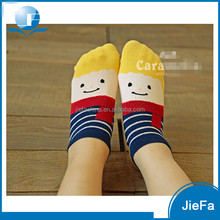 2016 promotion women's funny jacquard pattern colorful elastic nylon anklet cotton socks