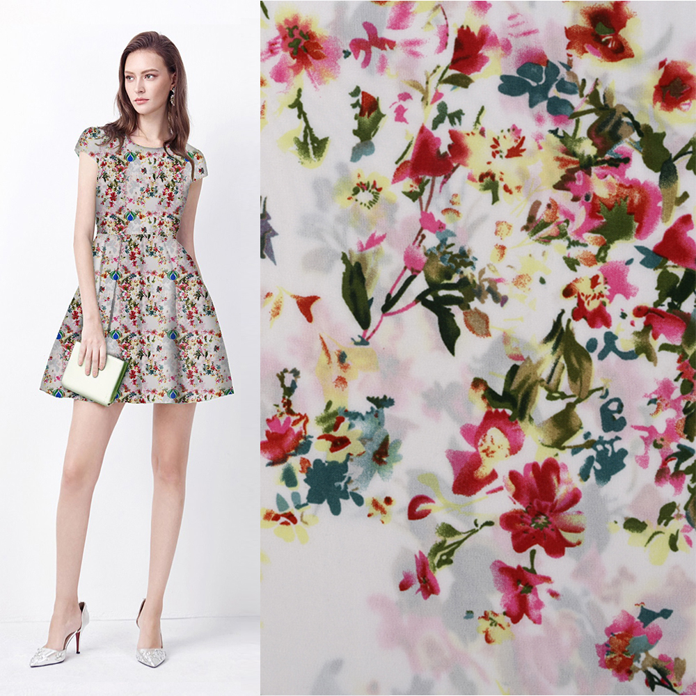 china supplier digital flower design printed chiffon fabric of elegant dress