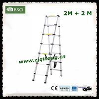 max load 150kg two-side reliable aluminium telescopic ladder with EN131