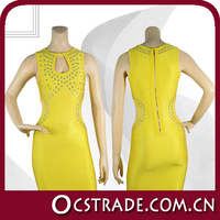 2014 wholesale high quality welcome faction yellow evening dress