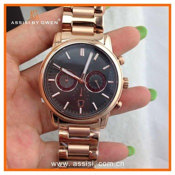 Assisi brand Fashion Men's Japan Quartz Chronograph Movement Black Dial Silver Stainless Steel Wrist Watch