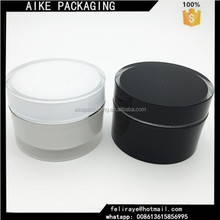 Plastic clear body round shape container white black cosmetic jas plastic 60ml cosmetic jar