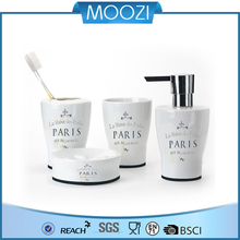 white ceramic bath sets and accessories with letter