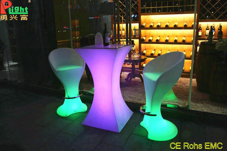 High quality plastic mould coffee table modern illuminating led bar table