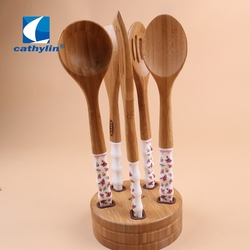 Cathylin best selling wooden kitchenware, kitchen utensil tools set
