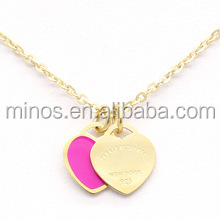 18K gold plated steel double Pink Heart Necklace pendant Necklace Pendant gold short Necklace for women silver jewlery