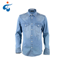 Breathable long sleeve latest cotton designs denim washed shirts for men