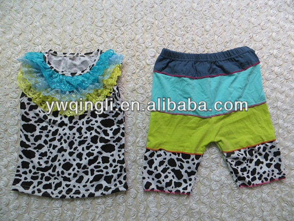 OU-A37 Cow Print Tank Top Matching Shorts,Children Kids Baby Clothing Set,Baby Suit