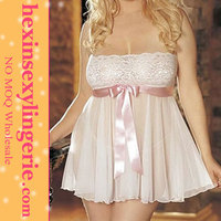 wholesale plus size latex white sexy nighty babydoll dress