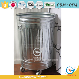 galvanized garbage can trash can waste can with wheels