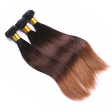 Factory Wholesales Price 9A Grade Ombre Three Tone Brown Brazilian Hair 100g Remy Straight Cuticle Aligned Hair
