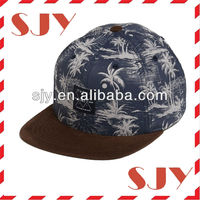 custom floral 5 panel hat/cap/5 panel fashion supreme hat/cap flat brim 5 panel hats with leather trap