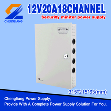 18ch channels 12V 20Amp CCTV Centralized Power Suppy Box ,Power Distributor Box, CCTV Power Supply with CE FCC ROHS