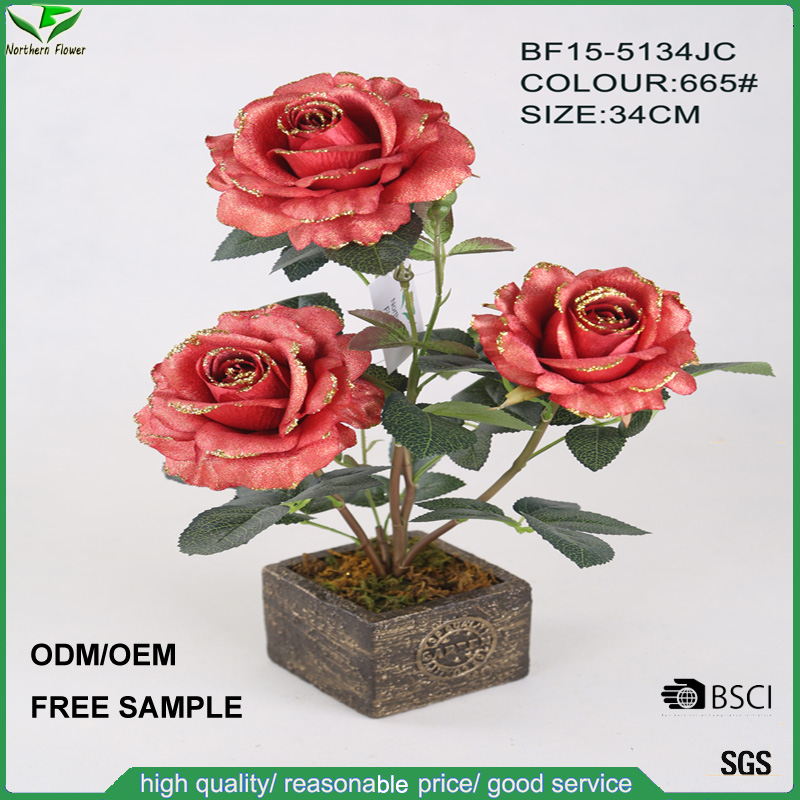 Christmas decoration artificial rose flower, high quality fake silk rose flower