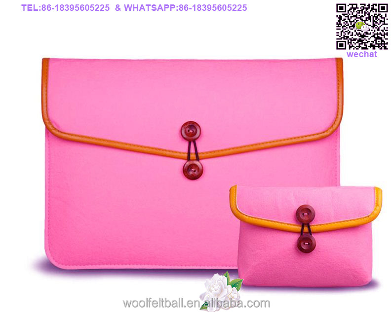 wholesale wool felt laptop bag with high quality leather