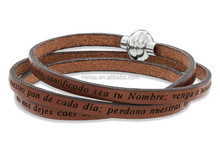 Spanish Lord's Prayer Brown Leather Bracelet with Stainless Steel Clasp