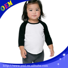 fashion custom Infant/toddler 100%Cotton 3/4 Sleeve Raglan baby kids t shirts